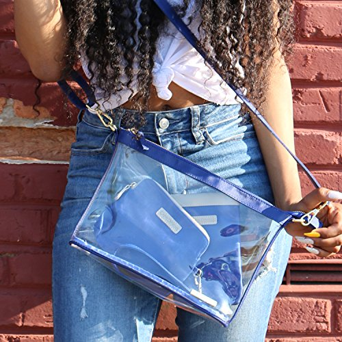 PVC Large Capri Royal Designs color bag Clear Blue with Crossbody Women's accents xqqHrwXO