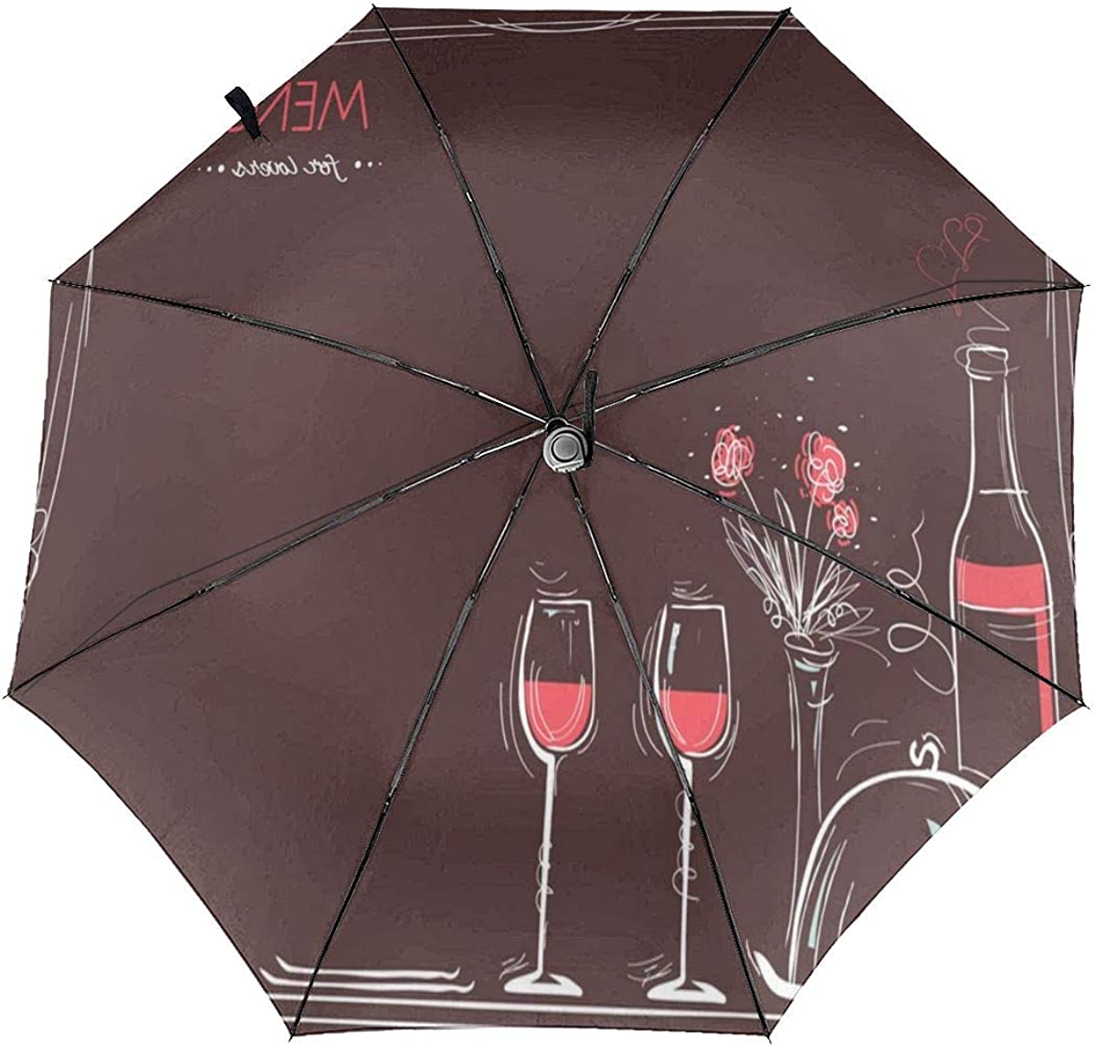 Menu Card For LoversLove Card Romantic Dinner Compact Travel Umbrella Windproof Reinforced Canopy 8 Ribs Umbrella Auto Open And Close Button Personalized