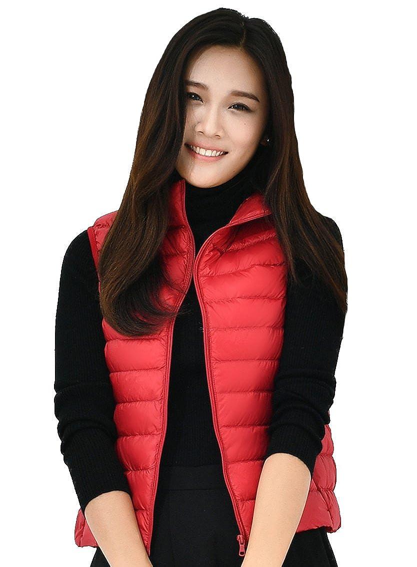 KUKI SHOP Women's Packable Down Vest Jacket Lightweight Down Gilet Coat Puffer Winter