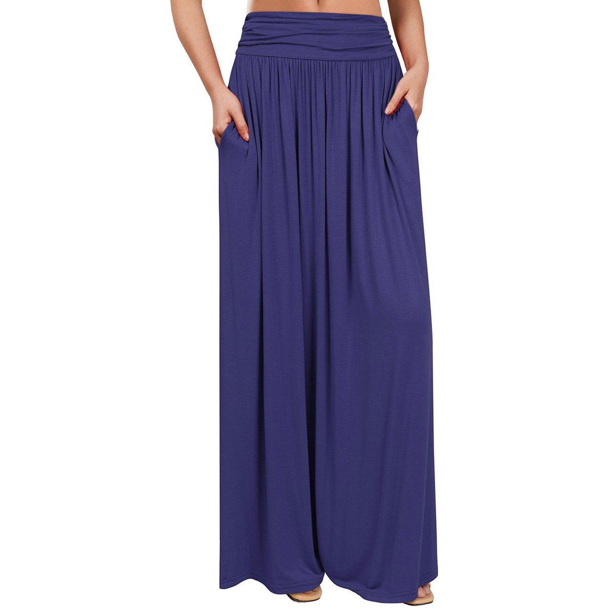 VeryAnn Women's High Waist Fold Over Long Maxi Shirring Skirt with Pockets