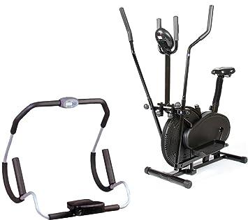 Paquete Gym Master Fitness AB Crunch rodillo con ejercicio ordenador y reposacabezas + Gym Master bicicleta