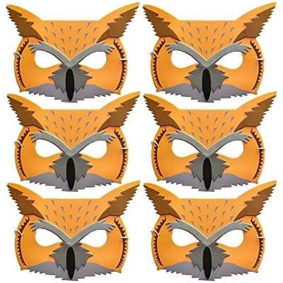 6masques en mousse pour enfant animal hibou moyen-duc–Fabriqué par Blue Grenouille Jouets