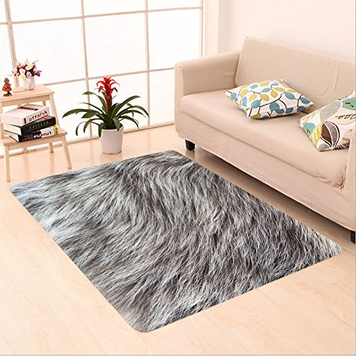 Sophiehome skid Slip rubber back antibacterial Area Rug close up shot of abstract gray fur background 153390956 Home Decorative