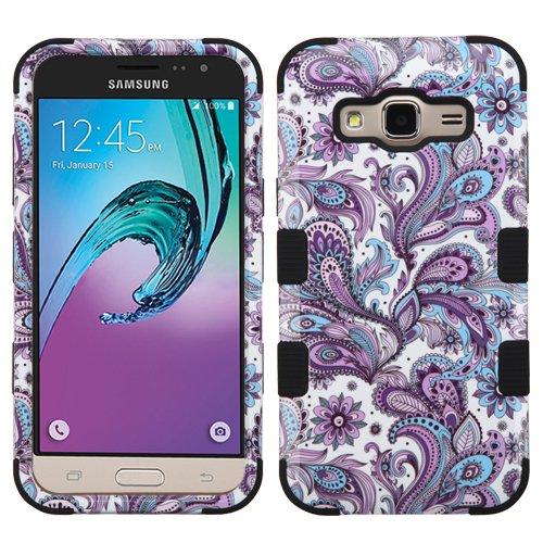 Wydan Case Samsung Galaxy J3V, Sol, Sky, Express Prime, Amp Prime, J3 2016 - TUFF Hybrid Hard Shockproof Case Protective Heavy Duty Impact Skin Cover - Paisley