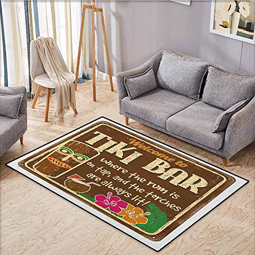 Indoor/Outdoor Rug,Tiki Bar,Aged Old Frame Sign of Tiki Bar with Inspirational Quote Leisure Travel Print,Large Area mat,3'11