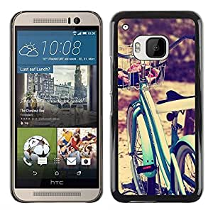 Planetar® ( Bicycle Blue Vignette Hipster Bike Sun ) HTC One M9 Fundas Cover Cubre Hard Case Cover
