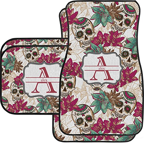Sugar Skulls & Flowers Car Floor Mats Set - 2 Front & 2 Back (Personalized) (Car Seat Cover Skull Pink)