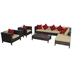 Outsunny 9-Piece Outdoor PE Rattan Wicker Sectional Patio Sofa Chair Set