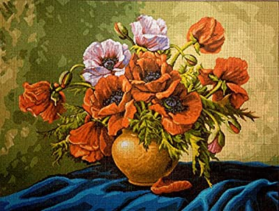 "Needlepoint Kit ""flowers"" 15.7""x11.8"" 40x30cm printed canvas 389"