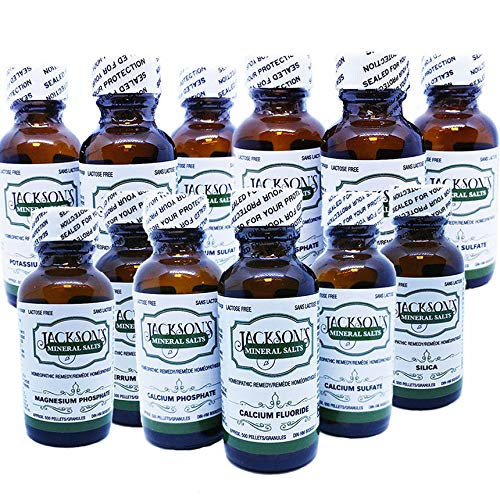 - 12 Schuessler Cell/Tissue Salts - Lactose-Free, Vegan & Organic (Calc-fluor, Calc-phos, Calc-sulph, Ferr-phos, Mag-phos, Kali-mur, Kali-phos, Kali-sulph, NAT-mur, NAT-phos, NAT-sulph, Silica) 6X