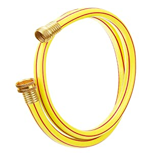 Homes Garden 4 ft. Short Garden Hose 5/8 inch Yellow Lead-Hose Male/Female Commercial Brass Coupling Fittings for Water Softener, Dehumidifier, RV Filter and Camp Water Tank #G-H153A06