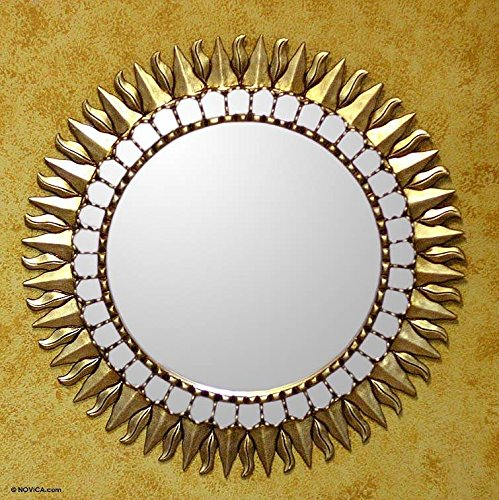 NOVICA Golden Painted Wood Frame Wall Mounted Star Mirror, Inca - Mirror Sun Golden