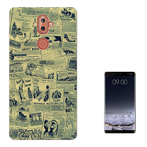 Leaflet 9 Designs (003443 - Vintage Retro Leaflets Design Nokia 9 CASE Gel Silicone All Edges Protection Case Cover)
