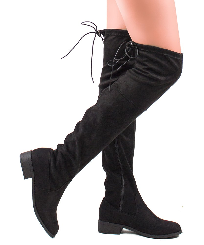 ROF Women's Faux Suede Back Tie Fitted Flat to Low Chunky Heel Over The Knee High Boots BLACK (6)