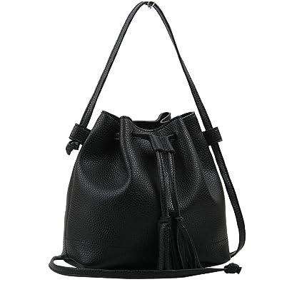 Copi Women s Everyday Bucket Bag   Cute Feminine Of Crossbody Small Bags  Black dff25e1dd3a20