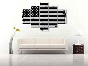 Extra Large Black White American Flag Painting On Canvas Patriotic Concept  USA Home Wall Decor Independence