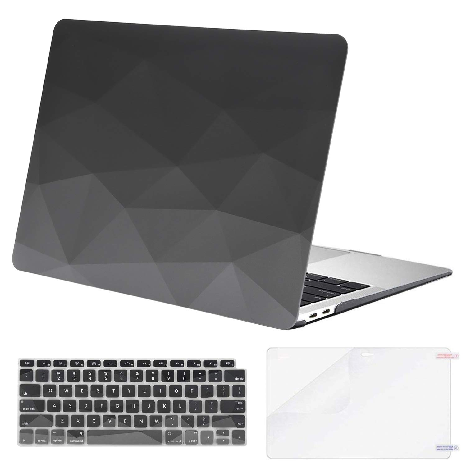 MOSISO MacBook Air 13 inch Case 2019 2018 Release A1932 with Retina Display, Plastic Pattern Hard Shell & Keyboard Cover & Screen Protector Only Compatible with MacBook Air 13, Gray Geometric