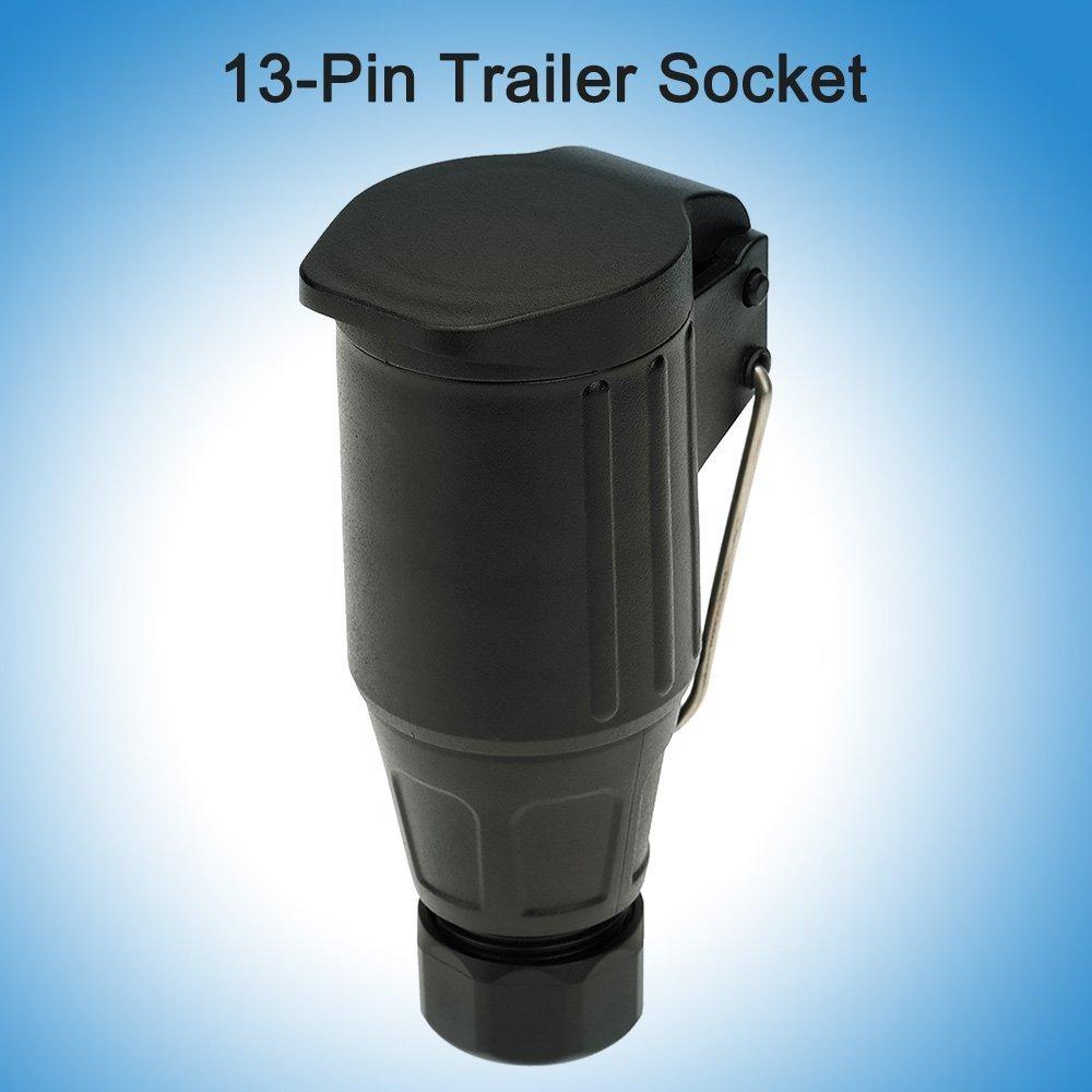 KKmoon 13-Pin Remolque Esmerilado Material Toma 12 V-13 Polo Barra de Remolque Socket N Tipo Vehí culo Terminal con Gancho