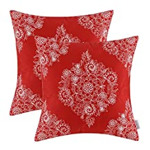 Pack of 2 CaliTime Throw Pillow Covers 20 X 20 Inches, Vintage Floral, Red