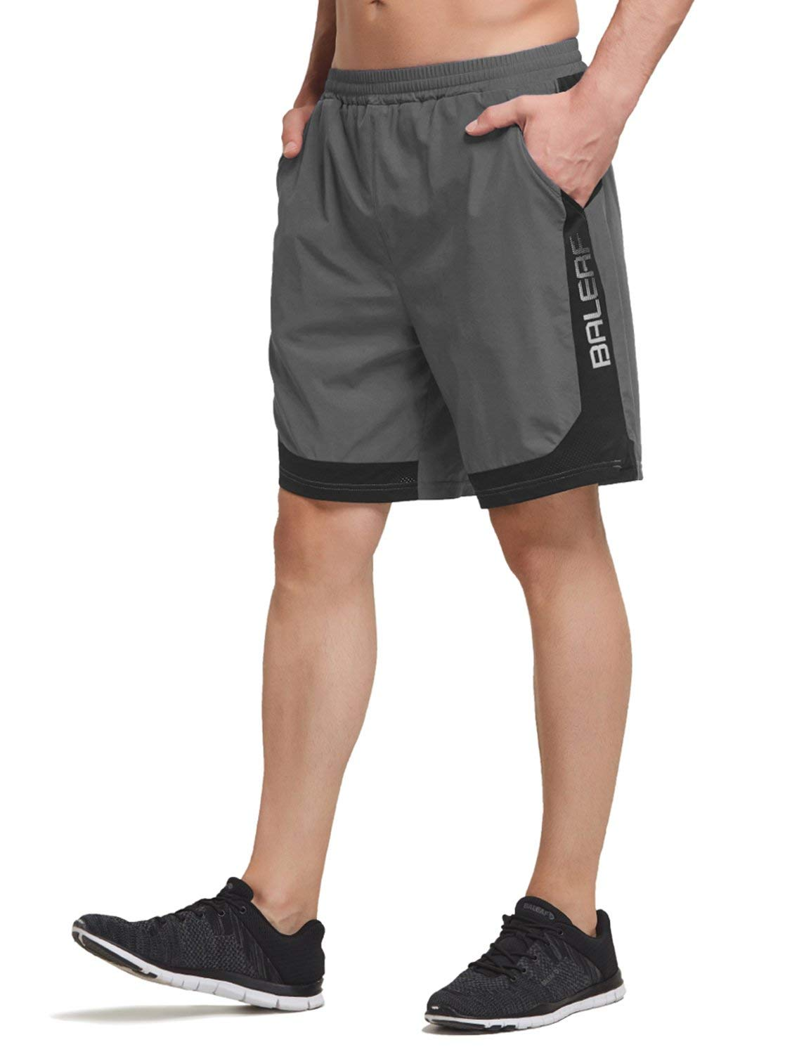 Baleaf Men's 7 Inches Quick Dry Running Shorts Mesh Liner Zip Pockets Gray Size M by Baleaf