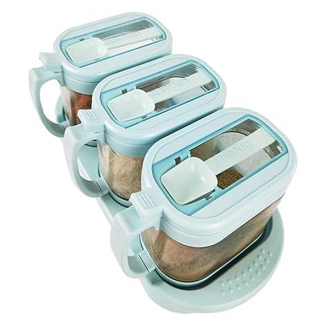 Gewürze Spender kg Behälter Glas Streuer Gewürz Kiste mit Löffel