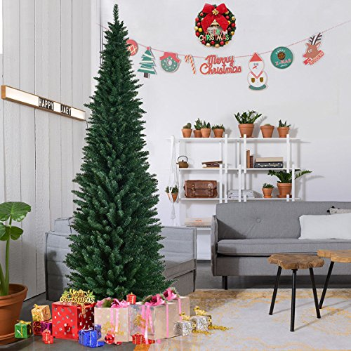 Goplus 8ft PVC Artificial Pencil Christmas Tree Slim Tree w/ Metal Stand for Indoor and Outdoor, Green (Artificial Christmas Trees Pencil)