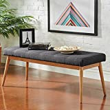 Linen Dining Versatile Classic Natural Oak Wood Sturdy Tufted Seat Bench