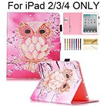 iPad Case, iPad 2/3/4 Case, Dteck(TM) Stylish Art Printed PU Leather Stand Wallet Case [Auto Sleep/Wake Feature] with Stylus Holder/Card Slot Magnetic Pouch Cover for Apple iPad 2 3 4, Pink Owl
