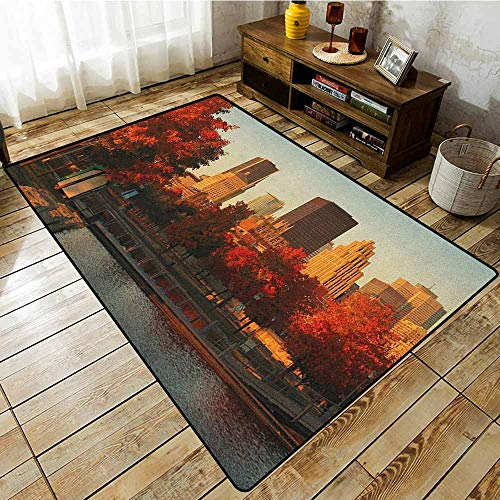 Hallway Rug,City,Old Port of Montreal Early in The Morning Scenic Autumn Trees Buildings Canada,Extra Large Rug,4'7