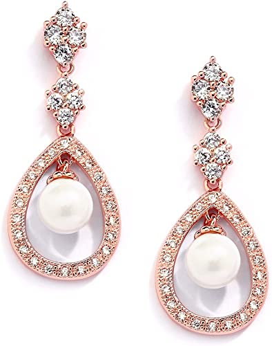 Large Pearl Zircon Dangle Earrings For Women Girls Gold Filled Anniversary Gifts