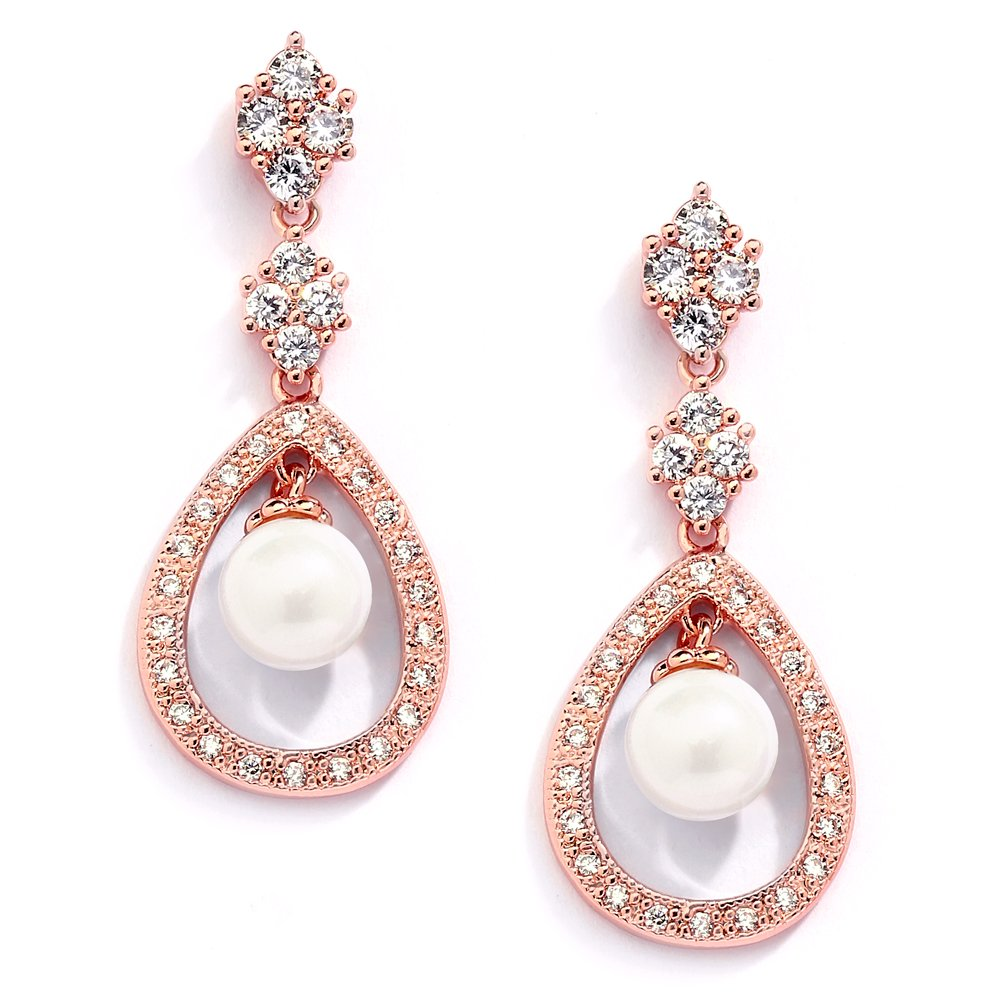 Mariell Blush 14K Rose Gold Plated Shell Pearl Drop Bridal Wedding Dangle Earrings with Cubic Zirconia