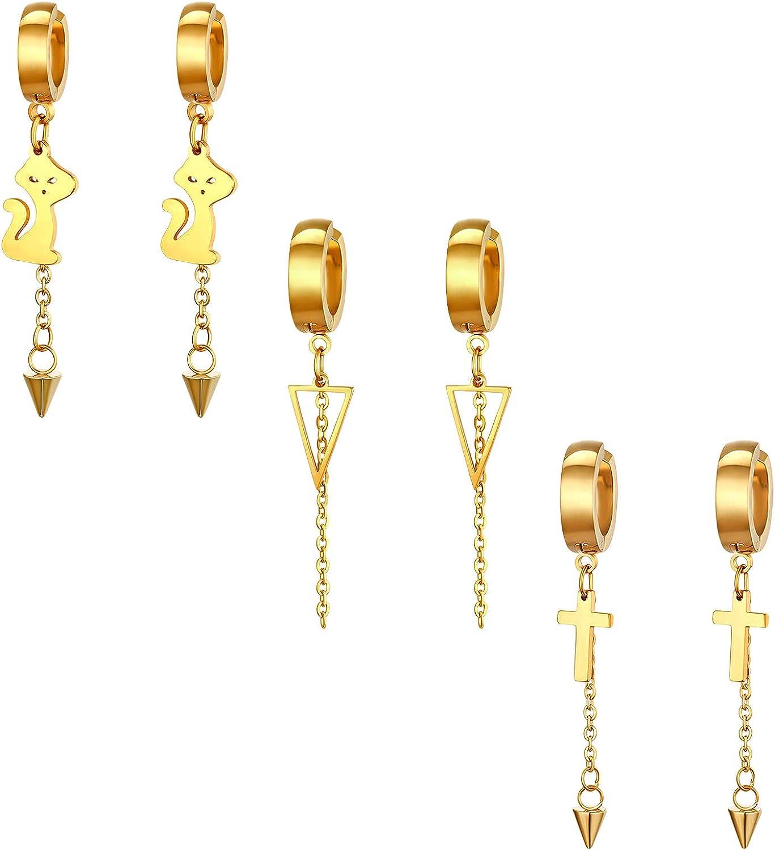 Cupimatch Lot de 4 paires de boucles doreilles /à tige en forme de chiffres romains en acier inoxydable avec zircons ronds