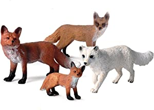 Fox Figurine, Realistic Plastic Wild Fox Figurine Set for Collection Science Educational Prop, Miniature Fox statue, Forest Style Home Decor Accessories or Cake Toppers Decoration, Pack of 4