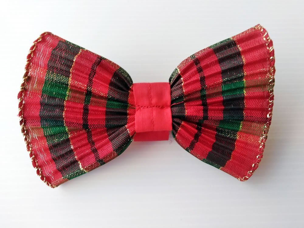 Fancy Ribbon Dog Bow Tie in Glittery Red and Green Scottish Holiday Plaid