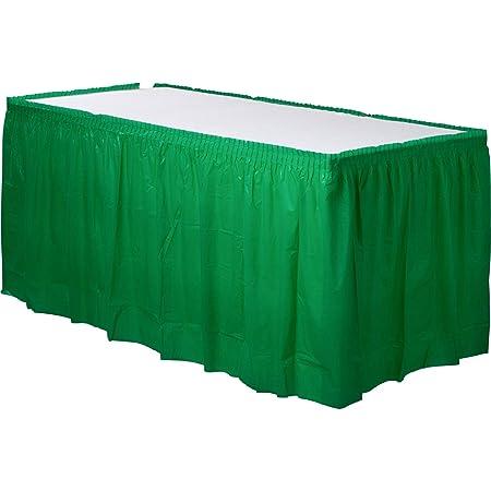 amscan 4,2 m x 73 cm Festive Falda de Mesa de plástico, Verde ...
