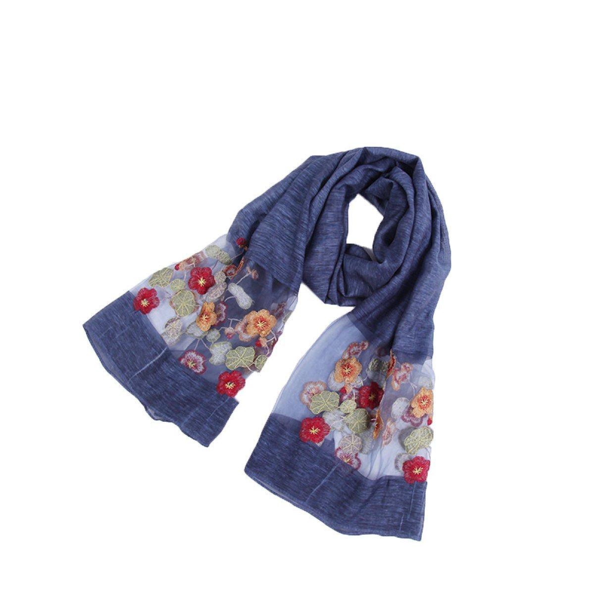 DIDIDD Bufanda de seda bufanda de moda bordado,4,195 * 90cm