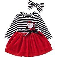 Haokaini Vestido de Fiesta de Navidad para niñas Vestido de Princesa de tutú de Malla a Rayas con Diadema