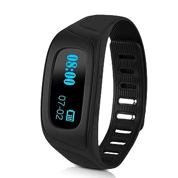 Diggro SW18-B Oled Smartwatch Bluetooth (Ajustable, Snyc Mensaje Llamadas, Podómetro, Monitor de Sueño, Control remoto de Cámara, Compatible con ...