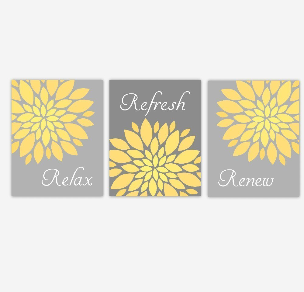 Amazon.com: Yellow Gray Bathroom Art Prints Spa Bath Decor Flowers ...