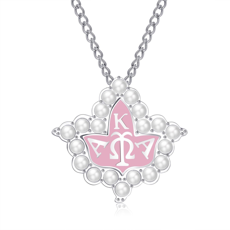 KINGSIN Vintage Pearl Crystal Brooch for Women AKA Sorority Graduation Gifts Alpha Kappa Alpha Paraphernalia Jewelry Leaf Pendant Necklace Chain
