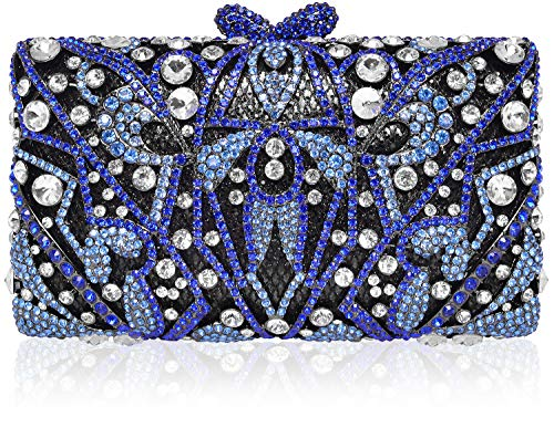 Crystal Clutch for Women Rhinestone Evening Bag (Blue)