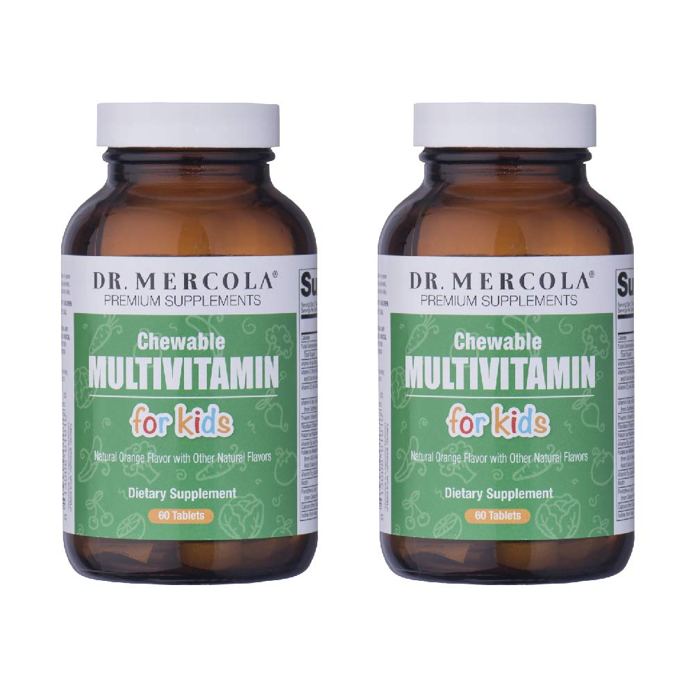 Dr. Mercola Multivitamin for Kids - 60 Chewable Multivitamin Tablets - 2 Bottles - Support Your Child's Health with Delicious, Sugar-Free and Non-GMO Children's Chewable Multivitamins by Dr. Mercola