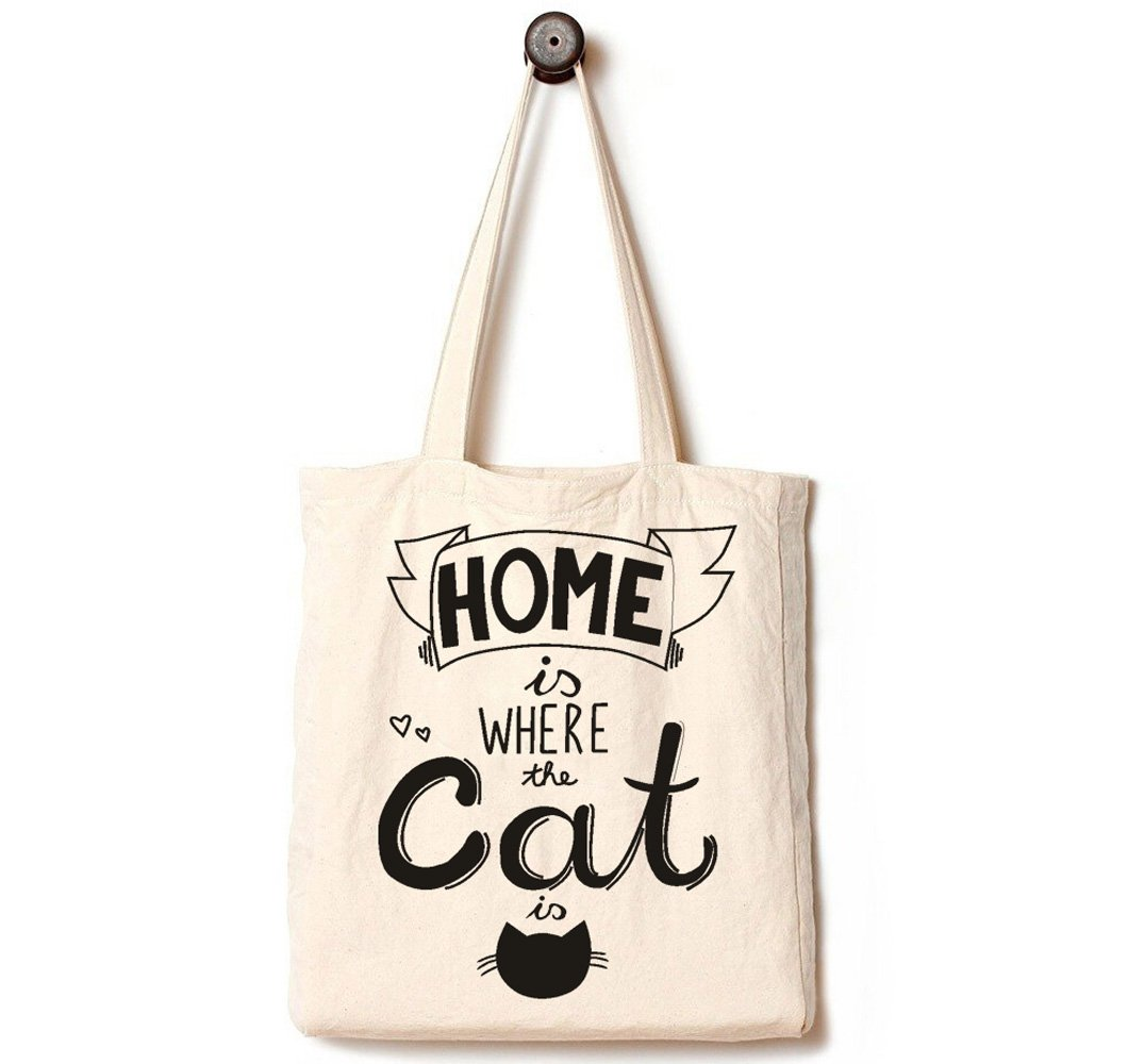 Andes Heavy Duty Gusseted Canvas Tote Bag, Handmade from 12-ounce Pure Cotton, Large Reusable Canvas Over the Shoulder Handbag, Perfect for Shopping, Laptop, School Books, Pet Home is Where The Cat is