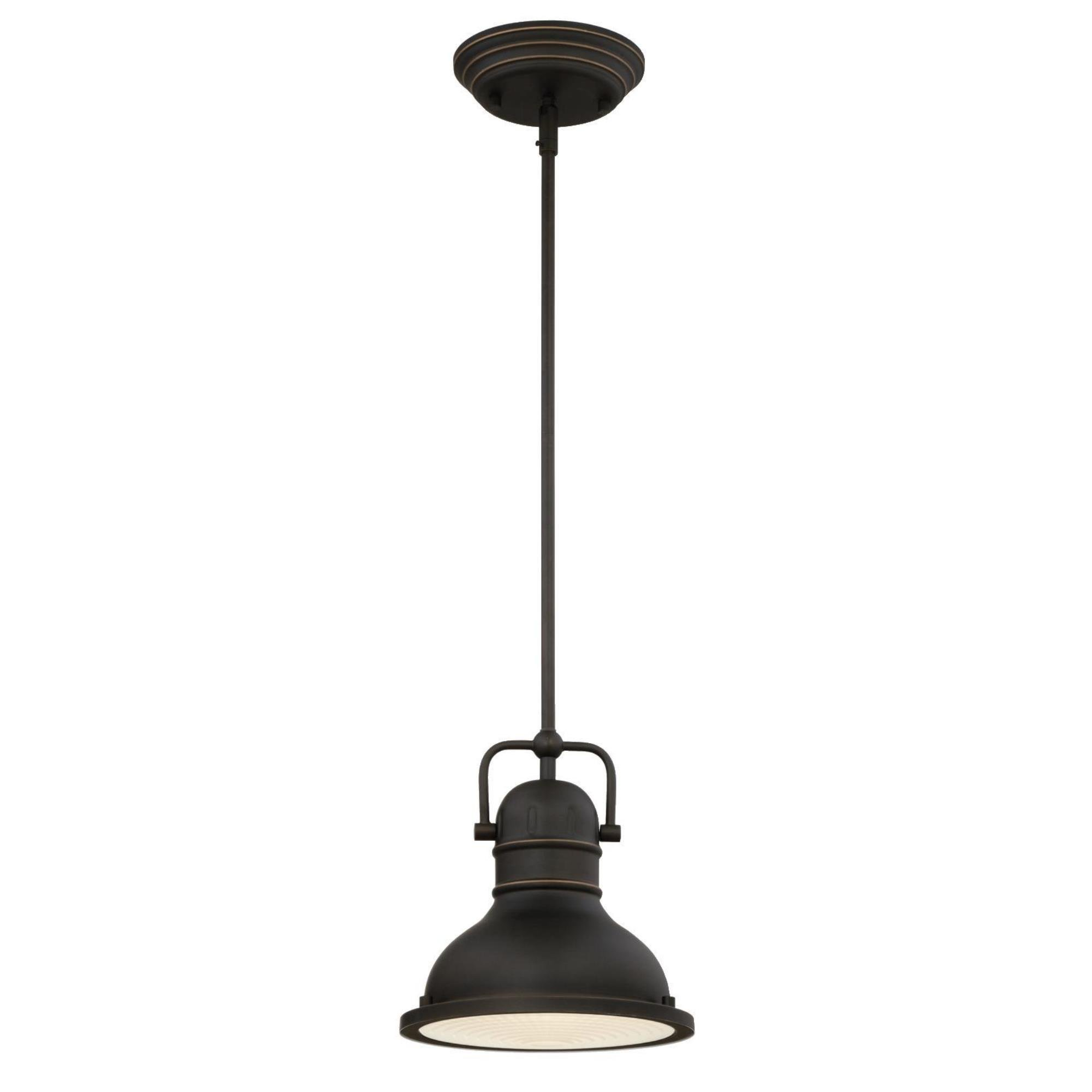 Westinghouse 63082B Boswell One-Light LED Indoor Mini Pendant with Frosted Prismatic Lens, 8.75-Inch Oiled Rubbed Bronze with Highlights and 11W LED