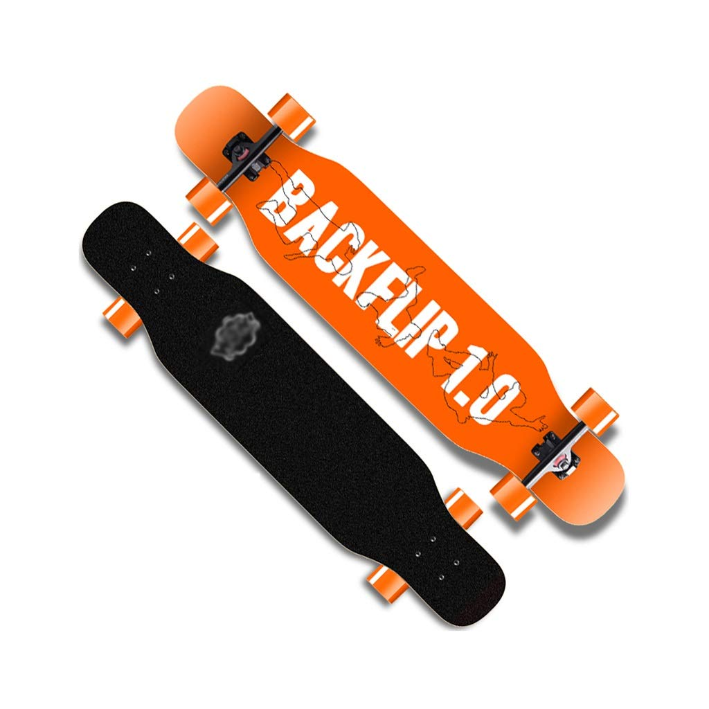 HXGL-Skateboard Longboard Skateboard Boys Adult Professional Skateboard Double Dance Board Brush Street Four-Wheeler (Color : Orange, Size : B)