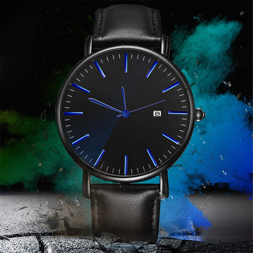 Amazon.com: XBKPLO Mens Quartz Watch,Analog Wrist Minimalist Watches Fashion Calendar Date Window Ultra-Thin, PU Leather Strap: Pet Supplies