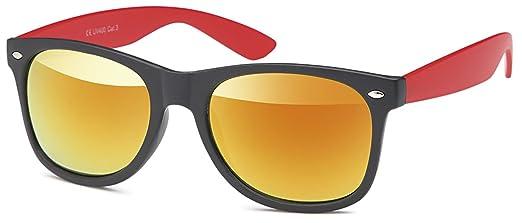 Unisex Sonnenbrille Monoscheibe mit verspiegelten Gläsern UV400 Filter- Im Set mit Etui (rubber touch orange) RSq4K95n