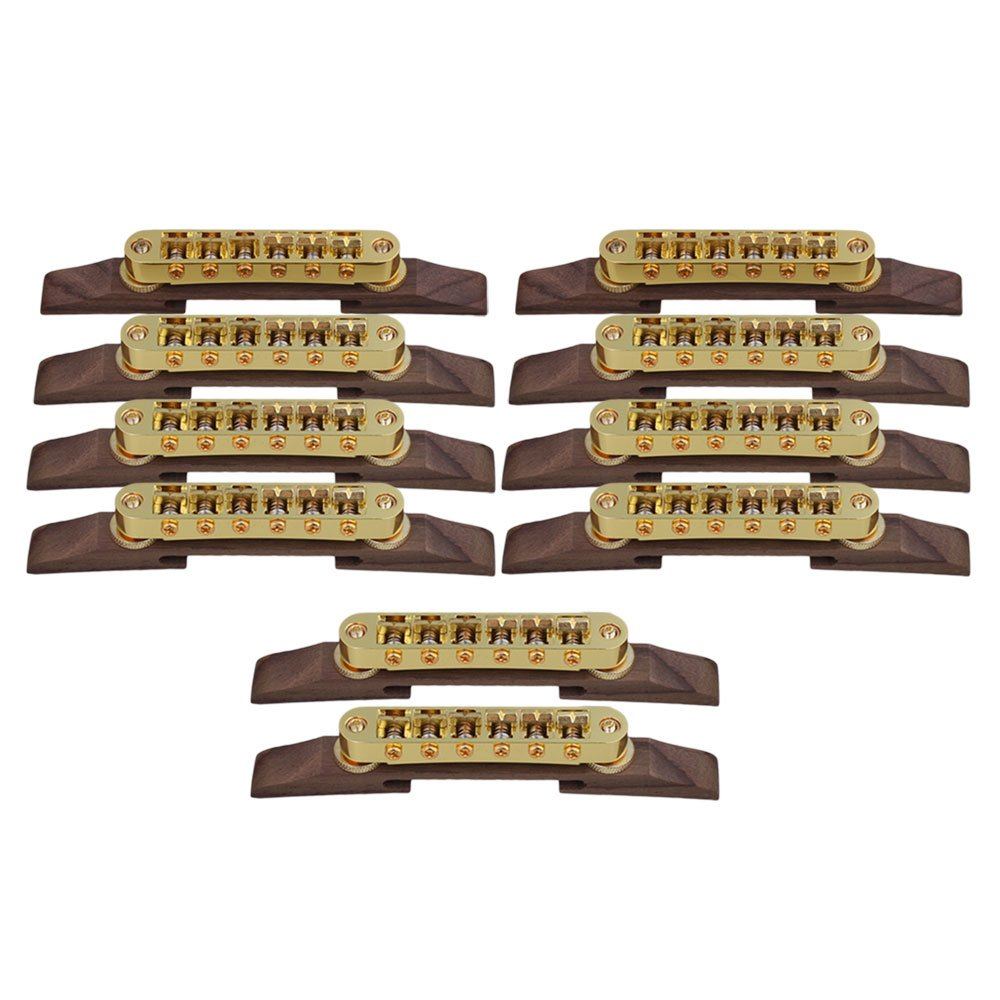 Yibuy Gold Rosewood Adjustable Archtop Guitar Bridge Guitar Parts Set of 10