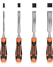 KSEIBI 312130 Premium Wood Chisel Set Chrome Manganese Blades for Woodworking, Carving, Soft Grip Handles W Hammer Steel-end Cap 4-Piece