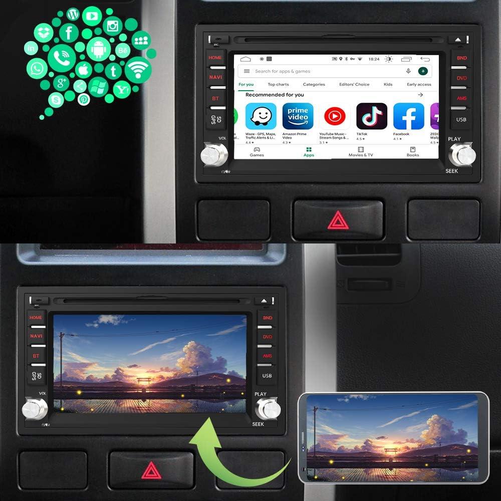 Radio 2 DIN Universal con 6.2 Pulgadas Pantalla Autoradio 2 DIN con CD DVD//WiFi//Navegador GPS//Bluetooth//Mandos Volantes//RDS//USB//SD//Subwoofer//Mirror Link 2GB+32GB AWESAFE Android 10.0